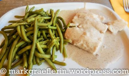 Fisch mit Kreuzkümmel-Sauce und grünen Bohnen